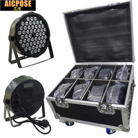 8pcs 54X3W RGBW LED Par Light DMX512 controller led disco DJ equipment 25 degrees 4/8 Channels with 8 in 1 flight case