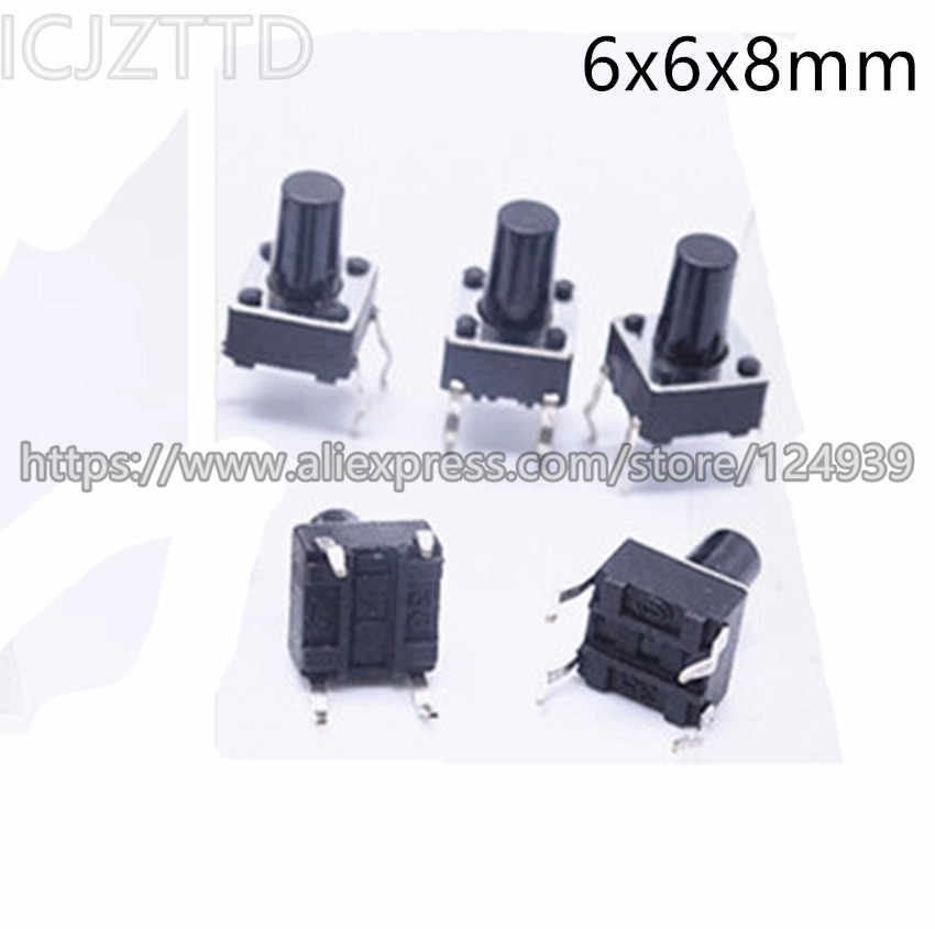 Tact Switch 100pcs Momentary Tact Switch 6x6x8mm Dip-4 Tactile Push Button Switch Touch On/off Switch Switches