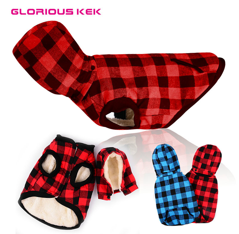 GLORIOUS KEK Plaid Dog Clothes Winter Fleece Jacket Warm Dog Coats with Removable Hood Pet Clothes for Small Medium Large Dogs plaid