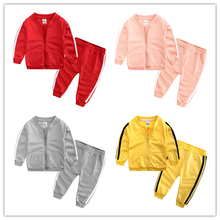 Fashion Spring Autumn Baby Boys Girls Cotton Sport Set Jacket+pants 2pcs/sets Tracksuit Clothing 70-100cm