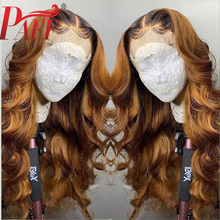 PAFF Ombre Full Lace Human Hair Wigs With Baby 1BT27 Color Brazilian Remy Two Tone full Bleached Knots free Part