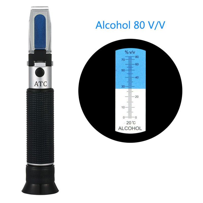 Refractometer Alcohol Alcoholometer Meter 0~80%V/V ATC Handheld Tool Hydrometer Concentration Spirits Tester Wine