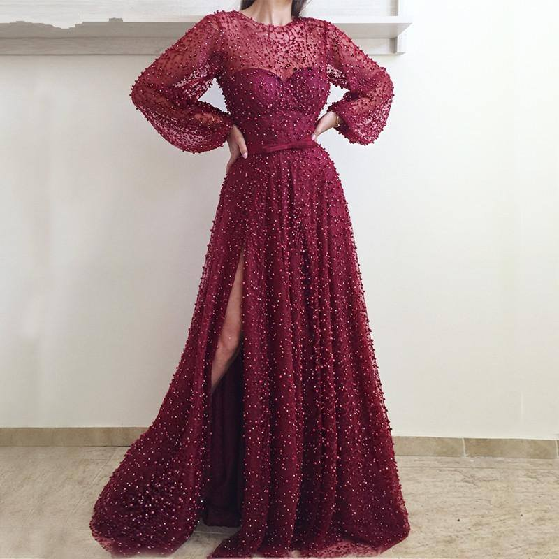 Sexy Beaded Slit Long   Prom     Dresses   2019 Illusion Burgundy Puff Sleeve   Prom   Gowns Custom Make Party   Dresses   Vestidos De Gala