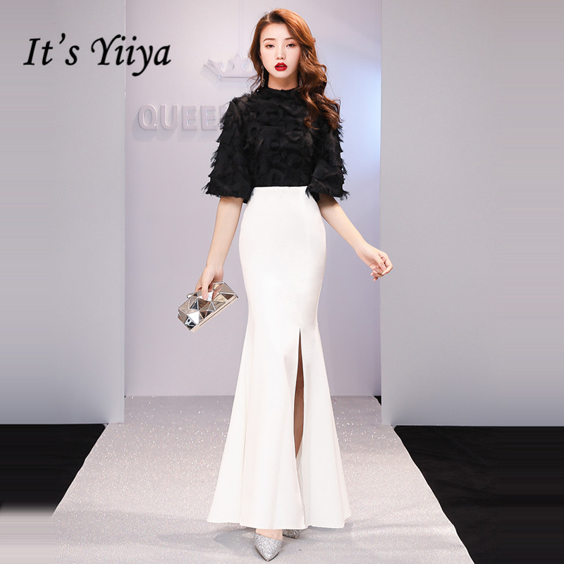 It's YiiYa Evening Dress 2019 Feathers Tassel Split Black White Patchwork Half Sleeve Trumpet Evening Gowns TR008 Robe De Soiree