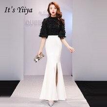 Its YiiYa Evening Dress 2019 Feathers Tassel Split Black White Patchwork Half Sleeve Trumpet Gowns TR008 robe de soiree