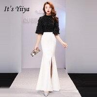It's YiiYa Evening Dress 2019 Feathers Tassel Split Black White Patchwork Half Sleeve Trumpet Evening Gowns TR008 robe de soiree