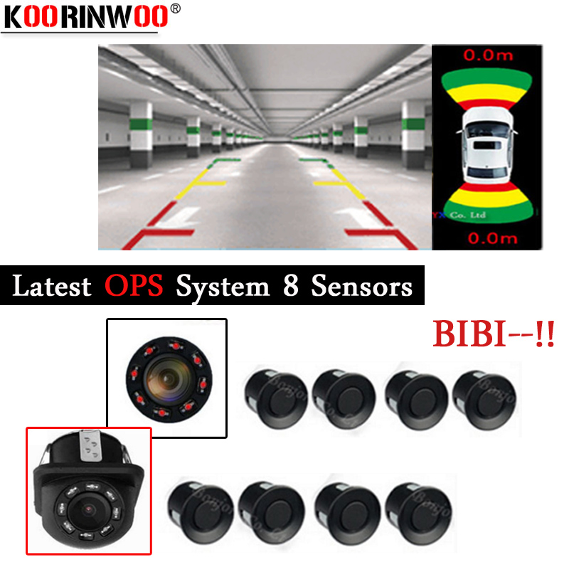 Koorinwoo 2018 OPS System OBD Connector Parktronics Car Parking Sensors 8 Alarm Front Rear view Camera Reversing Car Indicator park pilot parking front and rear 8 sensors update 8k pdc ops for skoda mqb octavia