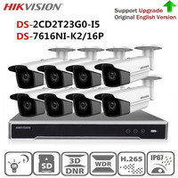 Hikvision IP Video Surveillance Kit 4K NVR DS 7616NI K2/16P&2MP IR Bullet IP Camera DS 2CD2T23G0 I5 surveillance camera outdoor