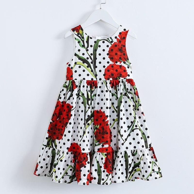 Été marque enfants mode vêtements enfants 100-160 cm filles vacances grand baggy ourlets robe d'été oeillet à pois fille robe de plage