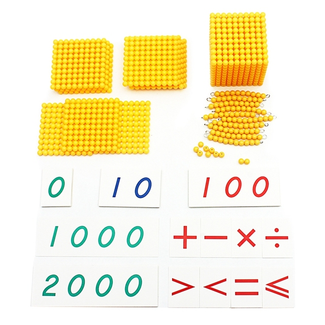 Set of Yellow Beads and Number Cards