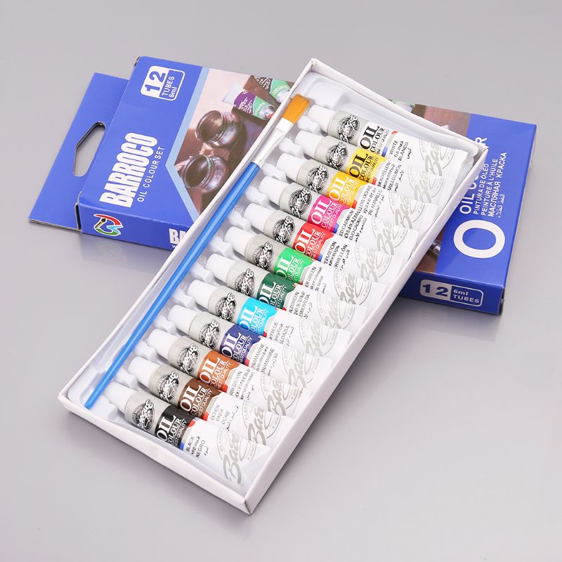 12 Colors Acrylic Paint Drawing Pigment Oil Colors Painting 6ml Tube With Brush Set Artist Supplies C26