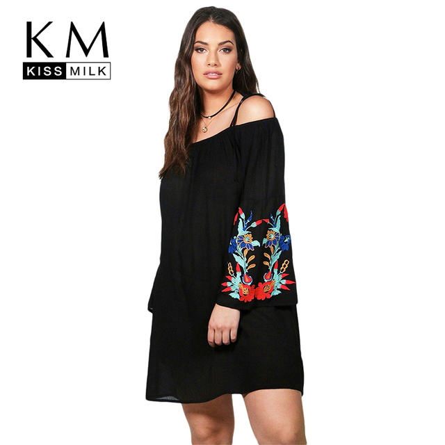 1c1f923f90c Kissmilk Plus Size Floral Embroidery Off Shoulder Long Sleeve Spaghetti  Strap Dress Sweet Solid Black Party Mini Dress