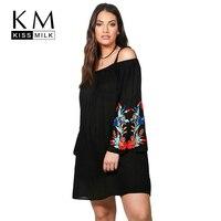 Kissmilk Women Plus Size Floral Embroidery Off Shoulder Loose Shift Dress Boho Long Sleeves Black Party Dress Large Size