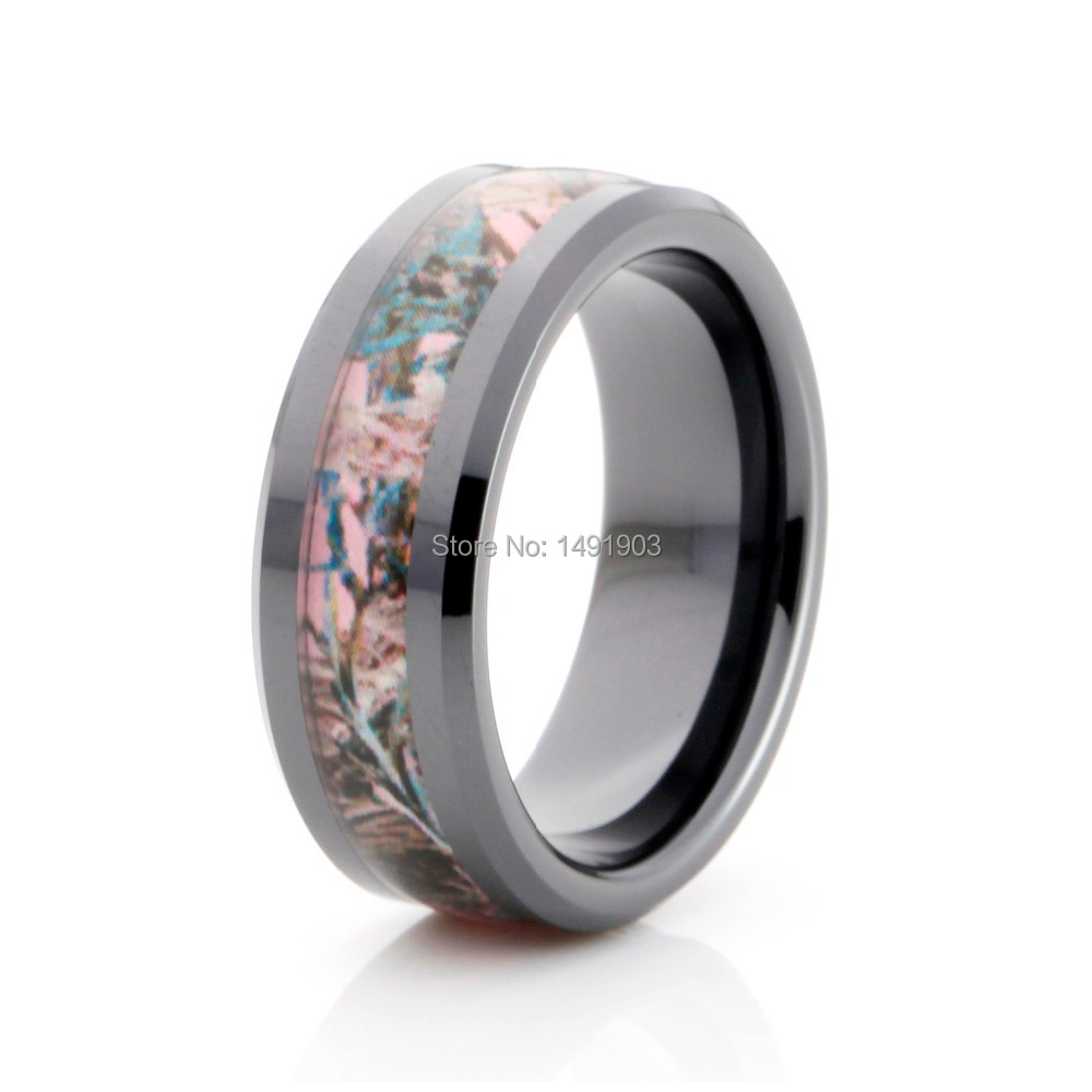 Pink And Black Tungsten Ring: Pink Camo Inlay Tungsten Ring Tungsten Black Ring Unique