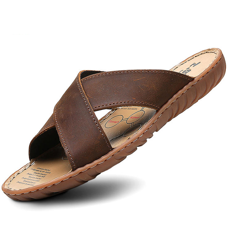 ZSUO Brand 2019 Summer Men Slippers Genuine Leather Cross Strap Beach Water Shoes Men High Quality Brown Slides Big Size:38-47