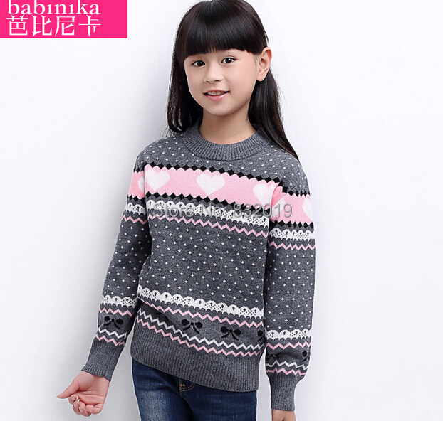 New Brand 2016 Girl Autumn and Winter Cotton & Wool Sweaters Kids Clothes Children's Sweaters Knit Coats Turtleneck for Girls