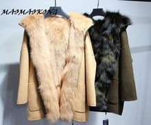 MAOMAOKONG winter coat women 100% natural real fox fur hooded loose plus size Sided wool jacket Khaki parka high quality