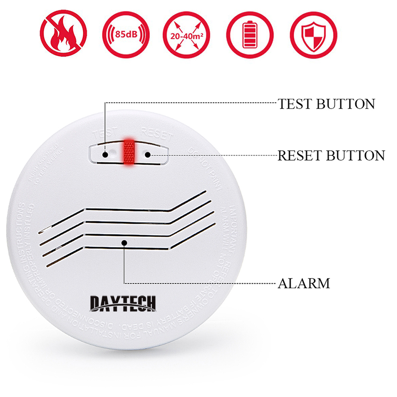 DAYTECH Wireless Smoke Detector Sensor Fire Detect Alarm 10 Years Battery For Kitchen/Restaurant/Home/School For Home Security