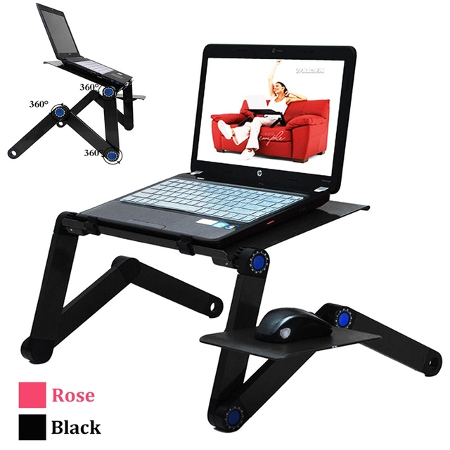 Aluminium Alloy 360 Adjustable Folding Computer Laptop Desk With Cooling  Fans New Laptop Stand Holder Lapdesks