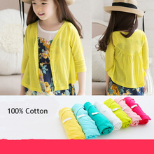 Retail Baby Teenager Summer Outerwear Sun Protection Clothing 2017 100% Cotton Solit Coats Casual Children Jackets for Girls