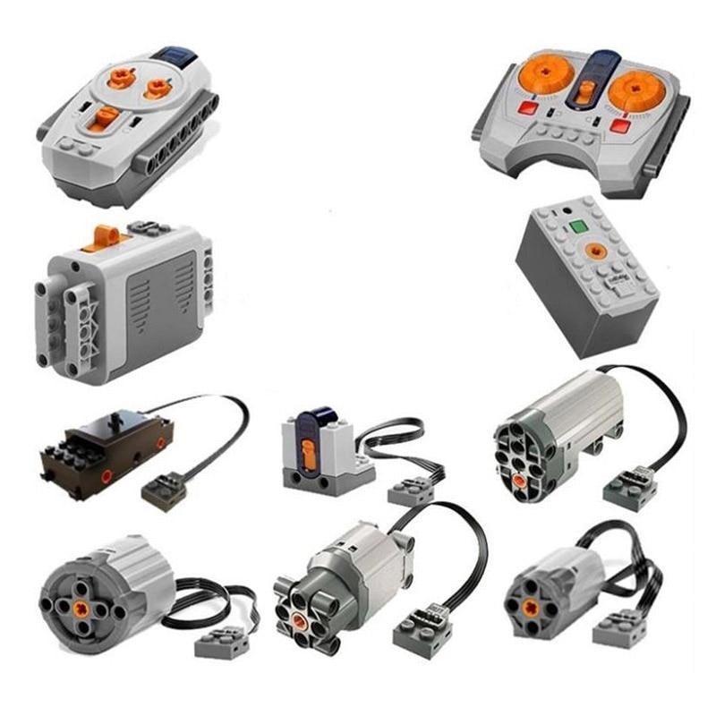En Stock Train Technique Série Puissance Moteur Rechargeable Batterie Boîte IR À Distance Récepteur LED Lumière building block brique