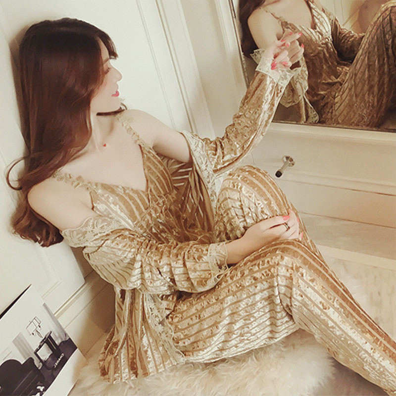 Image 5 - JULY'S SONG Gold Velvet Pajamas Set Autumn Winter Warm Women Sexy Pajamas Sleepwear Sleeveless Strap Nightwear Long Pant Robe-in Pajama Sets from Underwear & Sleepwears on AliExpress