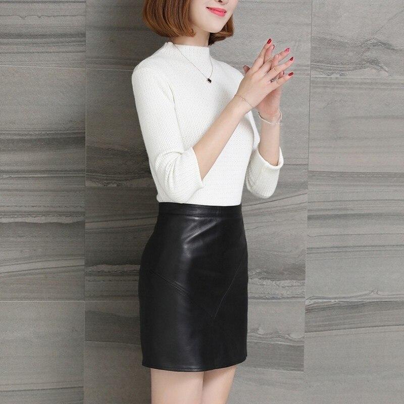 Sexy Dame Naturelle De Noir Peau Streetwear Femmes Mouton En Grande Minijupe Taille Cuir Black Bureau Jupe Jupes Réel Véritable Coréennes 8qwU4v