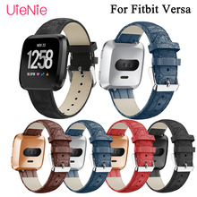 Frontier classic leather business replacement wristband for Fitbit Versa smart watch bracelet replace band accessories
