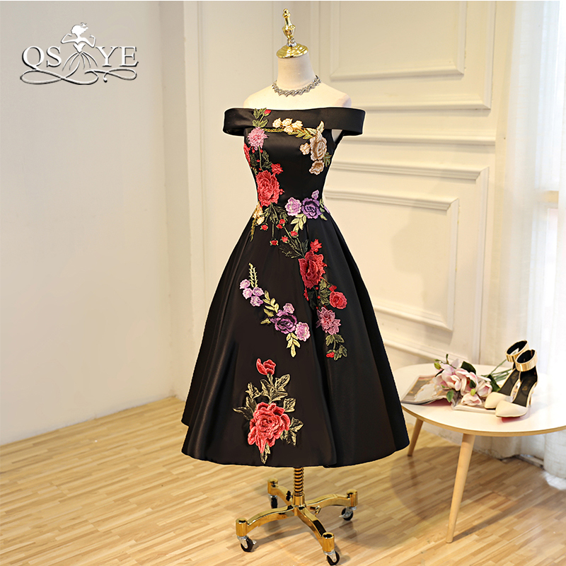 a00423e2bd QSYYE 2018 Vintage Black Prom Dresses with 3D Floral Flower Elegant Off  Shoulder Satin Tea Length Party Dress Evening Gown
