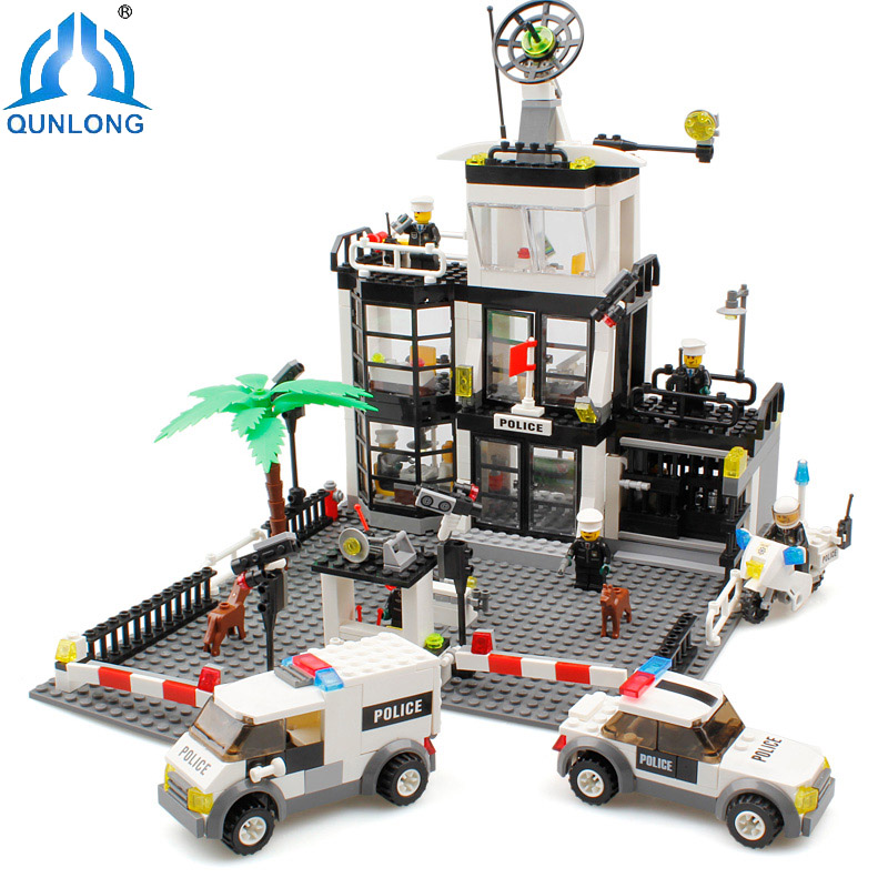 Qunlong City Blocks Police Station Building Blocks Toys Compatible Legoe City Toys Enlighten Bricks Toys For Children Gift kazi 6726 police station building blocks helicopter boat model bricks toys compatible famous brand brinquedos birthday gift