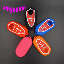 Xinyuexin Silicone Car Key Cover Case For Alfa Romeo 4C Mito Giulietta Myth 159 GTO GTA Flip Remote Car Key Jacket Car-stying