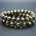 8mm 10mm Balck Onyx Agate Round  Beads Bracelet Carved Words Om Mani Padme Hum Man Buddhist Jewelry