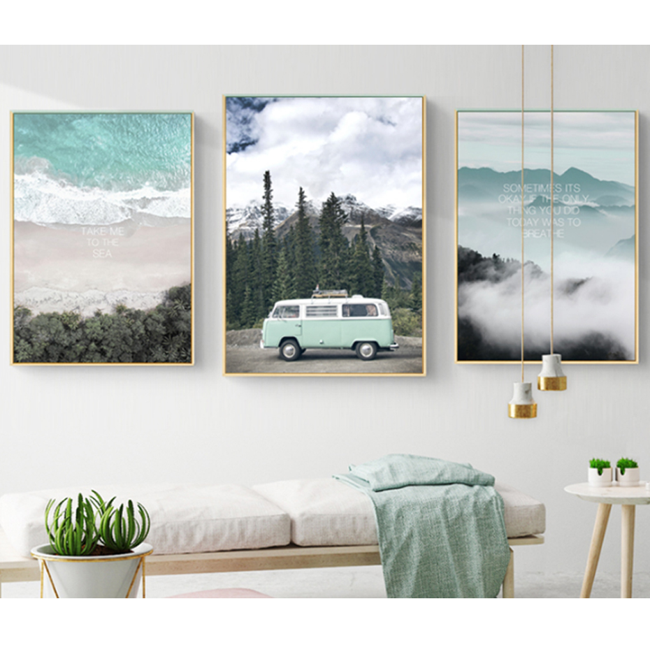 Modern Landscape Inspiring Travel Quote Nordic Canvas Paintings Posters Prints Wall Art Pictures Living Room Home Office Decor image