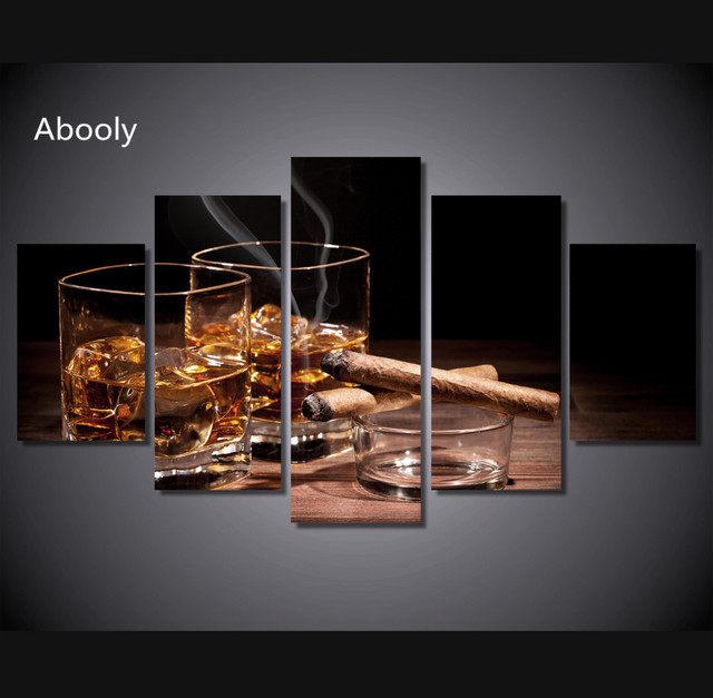 5piece Home Decor Wall Night Wine Cigar Painting Wall Art