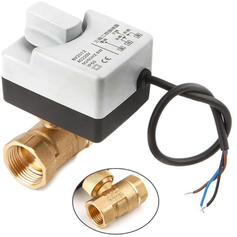 Ac220V 2 Way 3 Wires Motorized Ball Valve Electric Actuator With Manual Switch