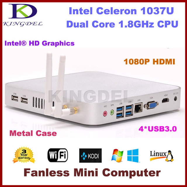 Intel Celeron 1037U Thin Client HTPC Fanless Mini Desktop Computer 2GB RAM 128GB SSD 1080P USB3.0 HDMI+VGA Dual Display