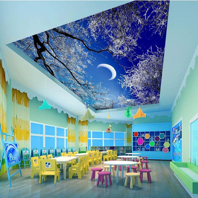 Ceiling Wall Papers Hd Snow Tree Sky Moon Photo Wallpapers Home