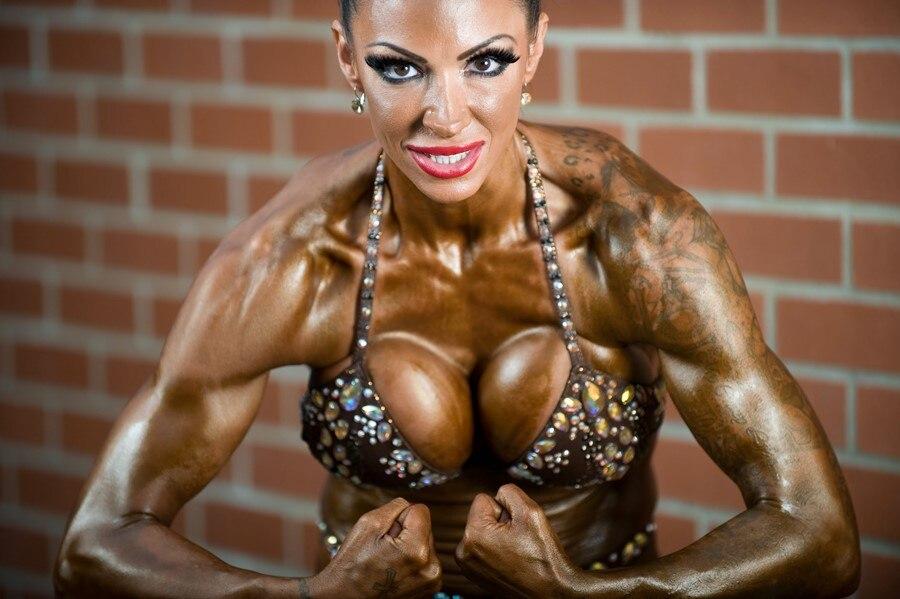salon chambre maison dcoration murale tissu affiche bodybuilder femme fille forte corps musculaire avec tatouage