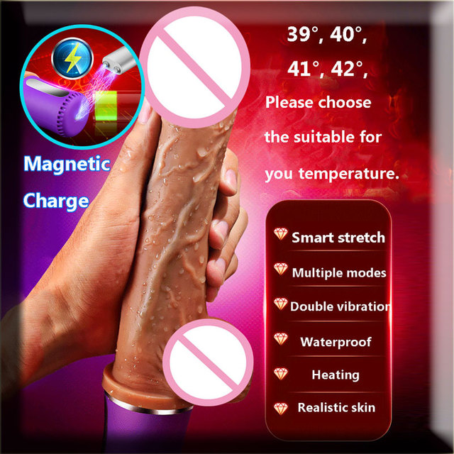 CPWD Big Dildo Vibrator Realistic Huge Penis Sex Toy Heating Automatic Telescopic Dildo Real Dick Magnetic/USB charge For Women