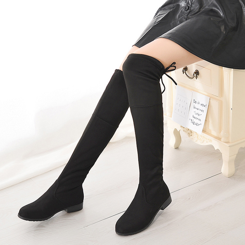 Mujeres Cuadrado La Otoño Rodilla Botas Negro Femenino Redonda Caliente 5cm Punta 3 High Tamaño Del Invierno Lace 5 Heel De Las Más Heel Flock Tacón 5cm Y Up dHq0xdU