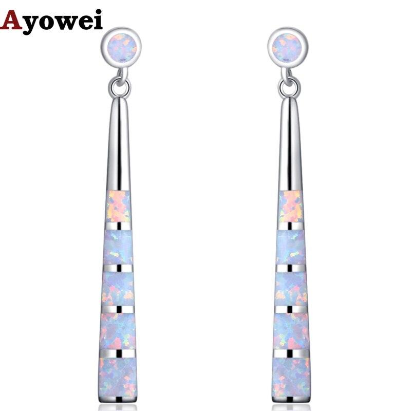 Ayowei Simple style For Women Created White Fire Opal Silver Stamped Drop Earrings Wedding jewelry OE737A