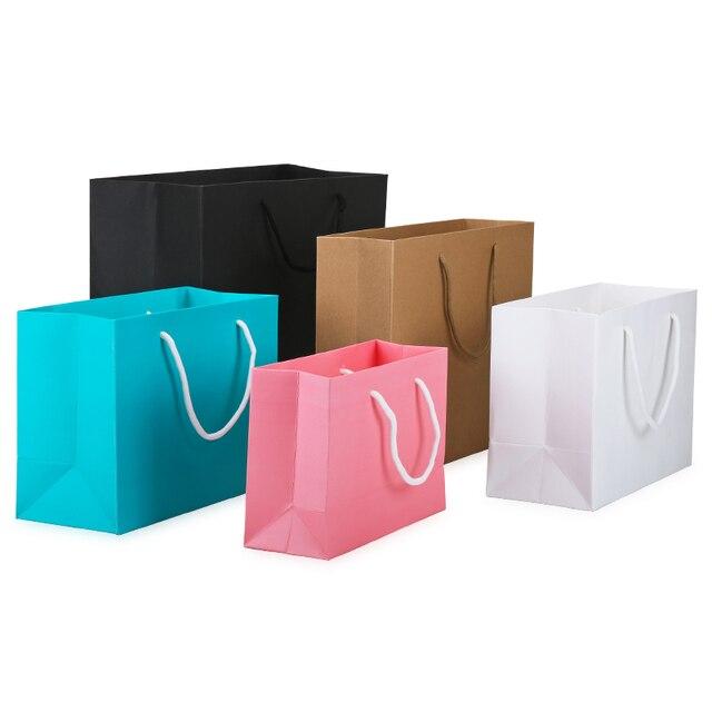Custom Logo Small White Kraft Paper Packaging Bagpink Garment Gift