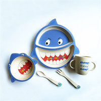 baby bowl set bamboo baby dinnerware sets children plate set tableware for children bamboo baby dishes Spoon fork cups shark