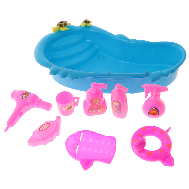 Hot 9Pcs Dollhouse Miniature Bathtub & Bath Supplies Set for Barbie ...