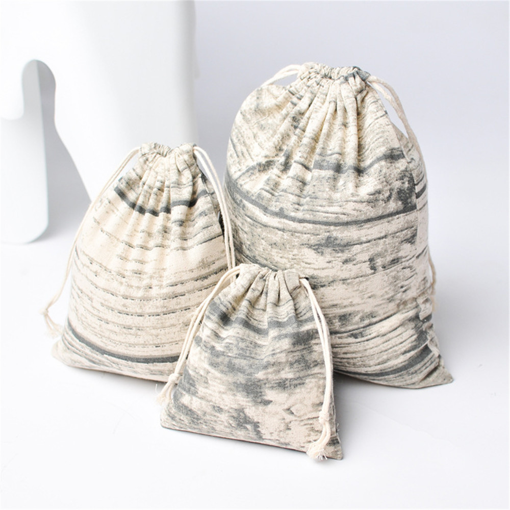 YILE Cotton Linen Drawstring Organized Bag Party Gift Bag Print Wood Grain YM81016d