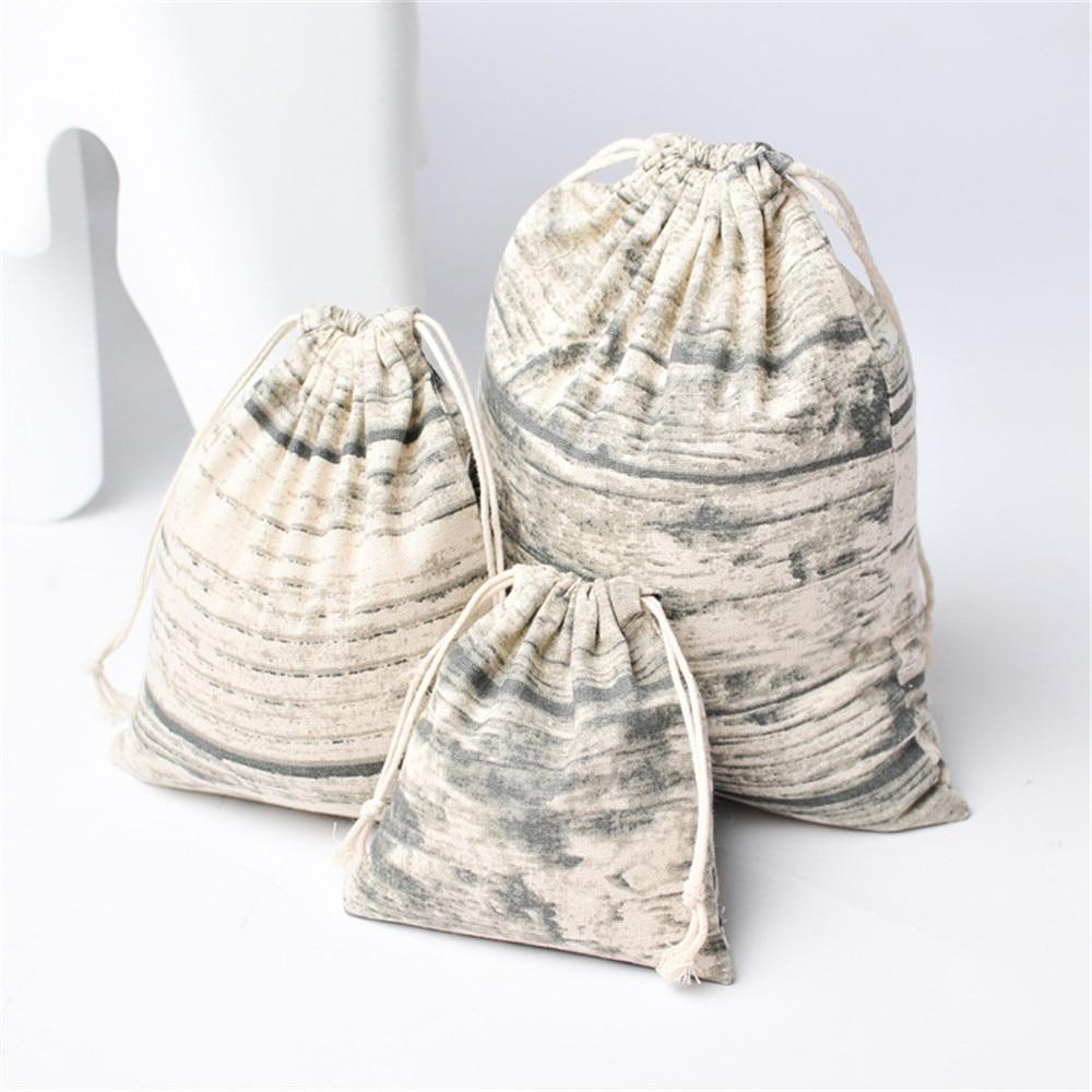 YILE Cotton Linen Drawstring Organized Bag Party Gift Bag Print Wood Grain YM81016d