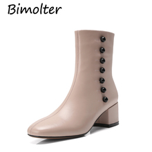 Bimolter New Spring Boots Women Genuine Leather Snow Black Platform Block Heel Shoes for Ladies Pink NC052