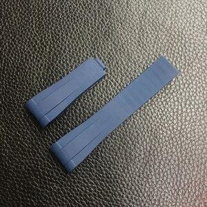 Image 5 - 20mm Black Green Blue Orange Curved End Silicone Rubber Watchband For Role strap RX Daytona Submariner GMT explorer 2 Bracelet
