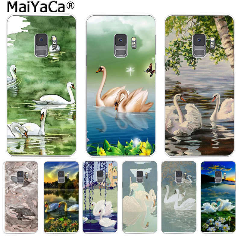 MaiYaCa اللوحة الأبيض البجعات يطبع بحيرة لطيف حالة أزياء لسامسونج S9 S9 زائد S5 S6 S6edge S6plus S7 S7edge s8 S8plus