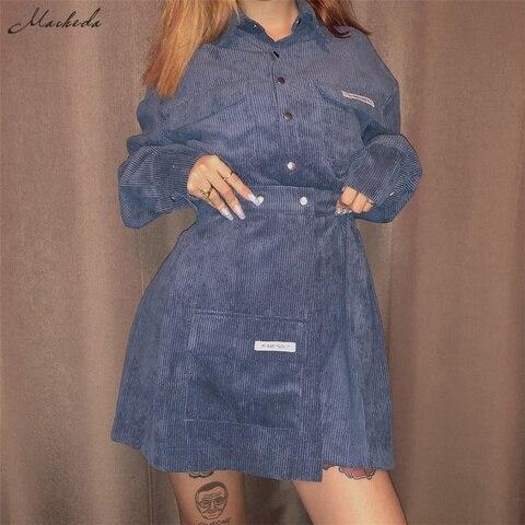 Macheda Autumn Women Turn-down Collar Shirt And Skirts 2 Pieces Sets Lady Casual Streetwear Mini Skirts Wild Slim Tops 2019 New Islamabad